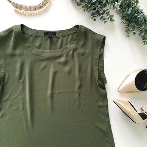 J. Crew Olive Green Sleeveless Silky Blouse